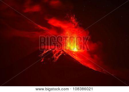 Tungurahua Volcano Night Explosion