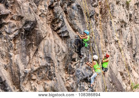 Young Group Of Climbers Climbing A Rock Wall