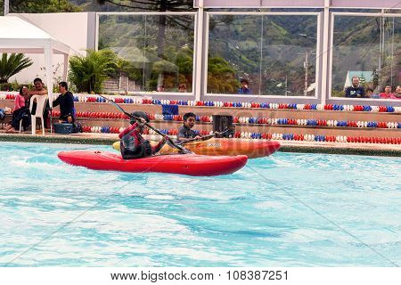 Team Competes At The Canoeing Contest