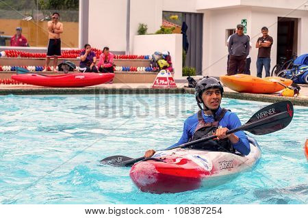 Canoeing Contest In A Swimming Pool