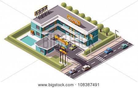 Vector isometric motel building icon