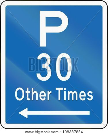 New Zealand Road Sign - Parking Permitted At Other Times For A Maximum Time Of 30 Minutes, On The Le