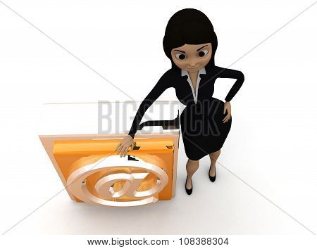3D Woman Presenting At The Rate Symbol Icon Concept