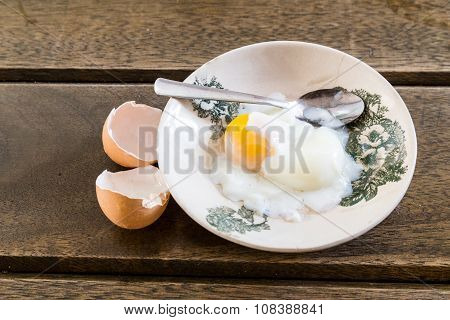 Asian Chinese Half Soft Boiled Egg On Sauce