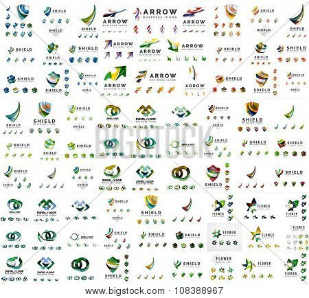 Mega set of new universal company logo ideas, geometric business icon collection. Vector illustration of  arrows, shields, loop infinity shapes and other