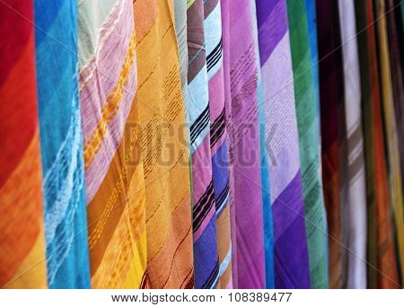 Multicolored scarves on souk in Marrakech, Morocco
