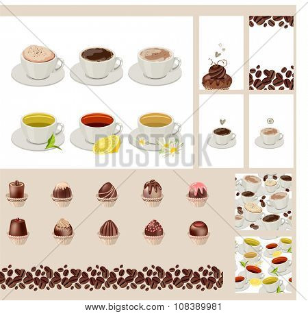 Set with different  cups with tea and coffee. Different taste.