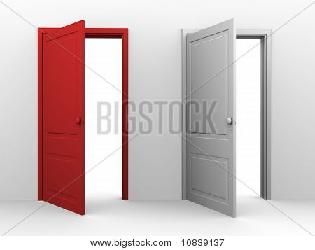 Red and white opened doors