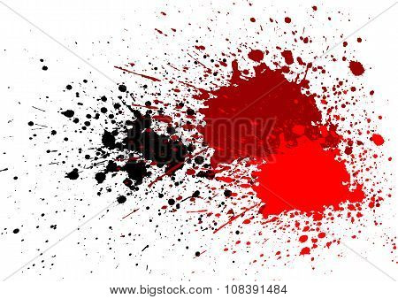 Abstract Splatter Blood Red Black Color Background
