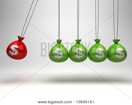 Hanging money bags as Newton's Cradle
