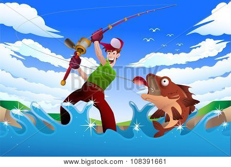 illustration of a man fishing on the blue river on nature background