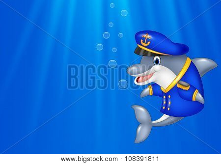 Cartoon Dolphin wearing captain uniform swimming in the ocean