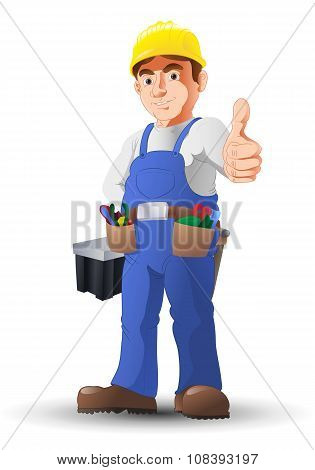 Handy Man Construction Worker Thumb-up