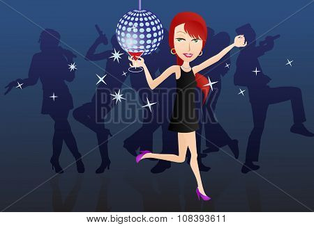 illustration of a female dancing on stage hold a glass of wine on music festival stage