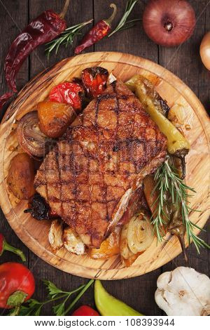 Roasted bacon or pork belly with rosemary and vegetables