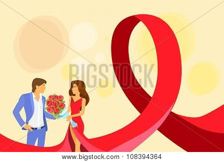 Love Couple World AIDS Day Awareness Red Ribbon Concept