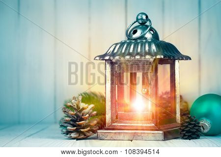 Christmas lamp with pinecone and ball on wooden board. Illustration