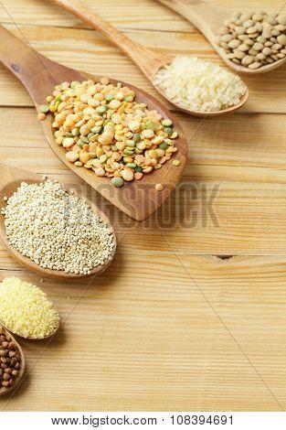 assortment of different grains - buckwheat, rice, lentils, quinoa