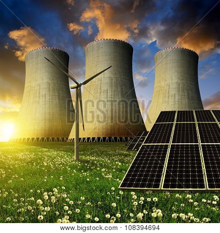 Solar energy panels, wind turbine and nuclear power plant