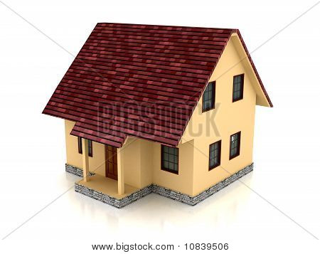 3D House Over White Background