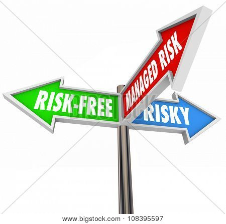 Managed Risk words on a sign between two others labeled Risk-Free and Risky to illustrate an acceptable middle ground in mitigating liability, danger and hazardous behavior or activity