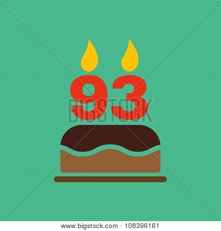 The birthday cake with candles in the form of number 93 icon. Birthday symbol. Flat