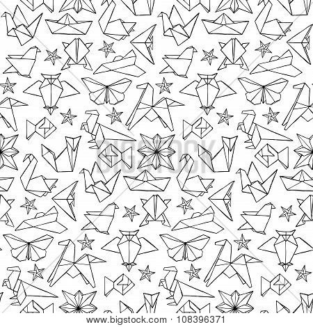 Seamless hand drawn doodle origami pattern