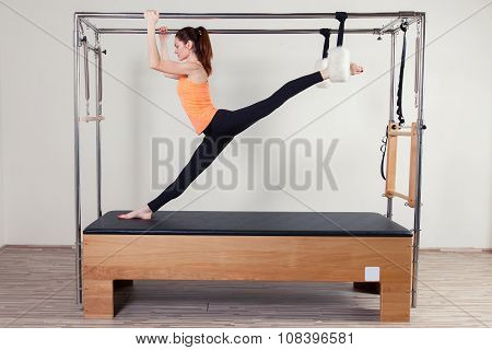 Pilates aerobic instructor woman in fitness exercise