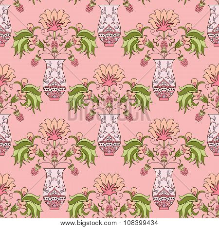 Seamless pattern floral bouquet in vase