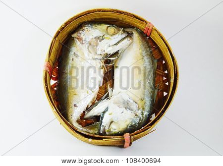 boiled mackerel on circle bamboo container