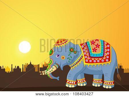 Cartoon elephant wearing traditional costume on the sunset background