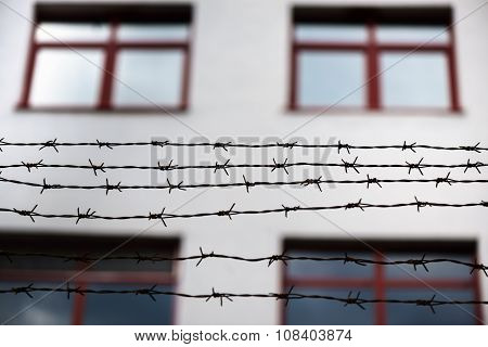 Barbed wire and fence at the prison