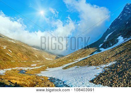Mountain Spring Stream And Sun (timmelsjoch, Austria )