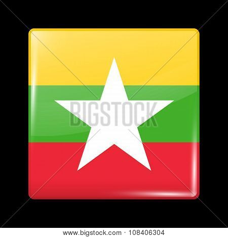 Flag Of Myanmar. Glassy Icon Square Shape