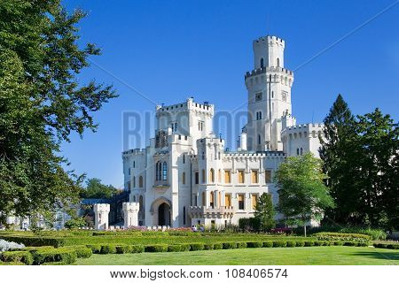 neo-gothic castle and gardens Hluboka near Ceske Budejovice, South Bohemia, Czech republic