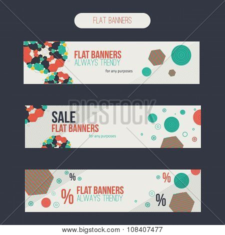 Vector flat set of sale banners with abstract shapes.