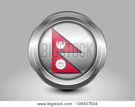Nepal Variant Flag. Metal Round Icon