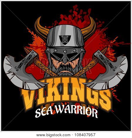Viking warrior and crossed axes