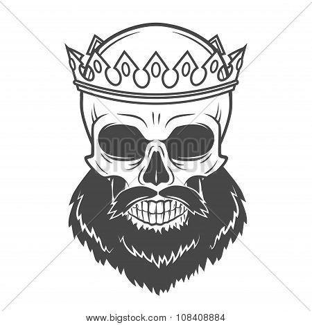 Bearded Skull King with Crown. Vintage Cruel tyrant portrait design. Royal t-shirt illustration. Old