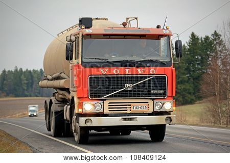 Red Volvo F12 Tank Truck On The Road