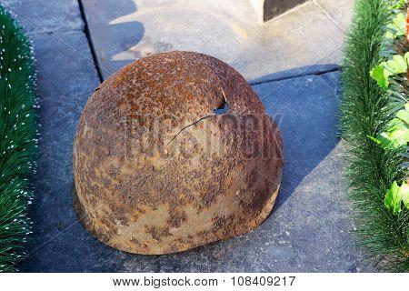 Soldier's Helmet Of World War Ii. Volgograd, Russia