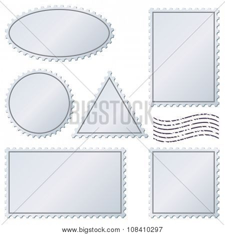 Blank postage stamps set isolated on white.
