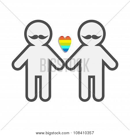 Gay Marriage Pride Symbol Two Contour Man With Mustaches Lgbt Icon Rainbow Heart Flat Design