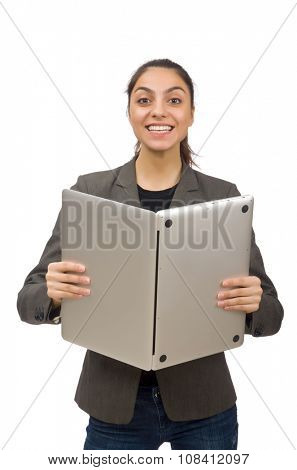 Young student with laptop on white