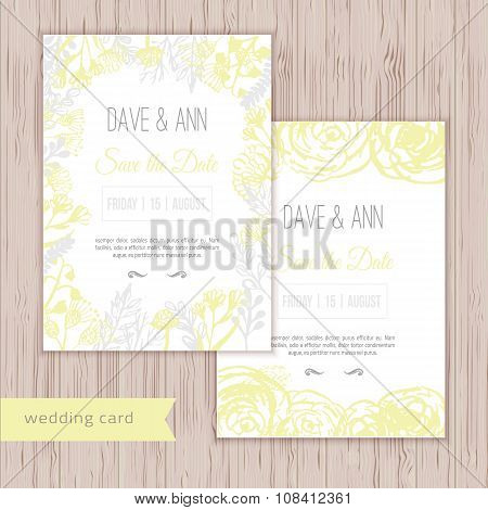 Vector ink watercolor save the date cards in rustic style with leaves and flowers.
