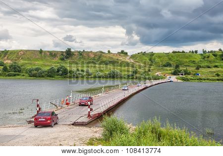 Pontoon Bridge Across The Oka Near Old Ryazan