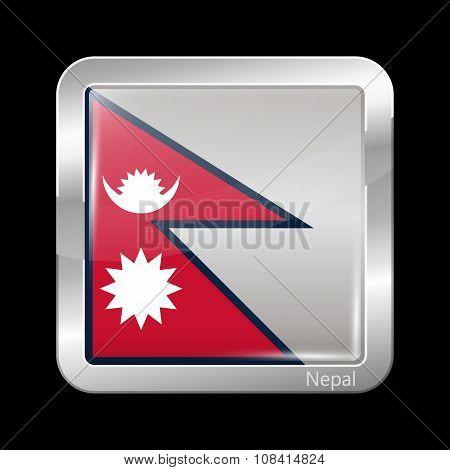 Flag Of Nepal. Metallic Icon Square Shape