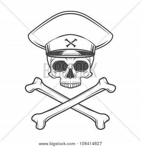 Skull with general hat and cross bones. Dead crazy tyrant logo concept. Vector military t-shirt illu