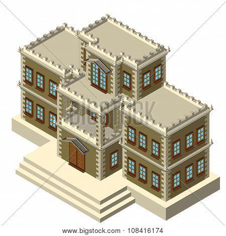Isometric Gray Retro House