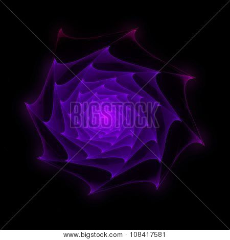 Fractal rose with spiky petals in glowing violet on black background